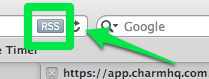 In Safari, click on the Rss feed buttin in the URL bar