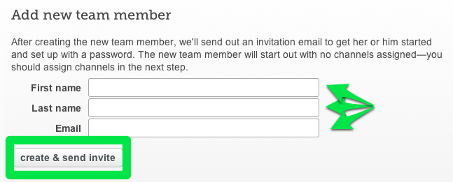 Add your team member's info & hit the create and send invite button.